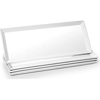 DOWAN Large Rectangular Serving Platters - 14.5 Inches Rectangle Serving Plates Porcelain Platters White Serving Dishes Dinner Plates for Meat, Appetizers, Dessert, Sushi, Party, Set of 4, White