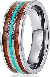 King's Cross Elegant 6mm/8mm Flat Silver Tungsten Carbide Band Ring w/Layered Inlays of Deer Antler, Koa Wood & Blue Turquoise.
