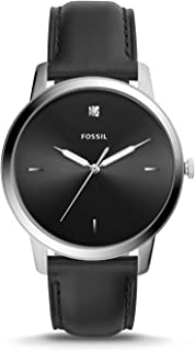 Men Minimalist Carbon Series Stainless Steel and Leather...