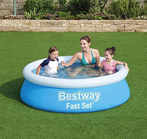 Plantschbecken Family-Pool Fast-Set Swimmingpool Kinderpool Schwimmbad ohne Pumpe Outdoor mit aufblasbaren Rand robust für den Garten Terrasse Kinder Familie rund 183 x 51 cm Groß