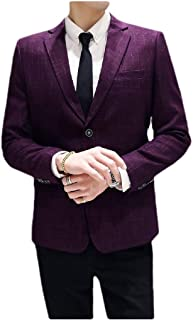 Men's Casual Blazer Plaid Business Two-Button Sport Coat Jacket