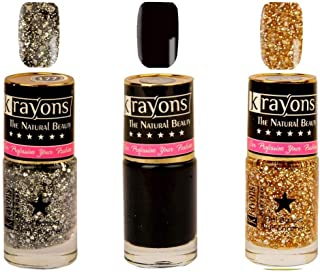 Krayons Gel Base Glossy Effect Nail Polish Enamel Color Combo of 3 Trendy Shades, 24ML Safe Dry Fast Collection For Women,...