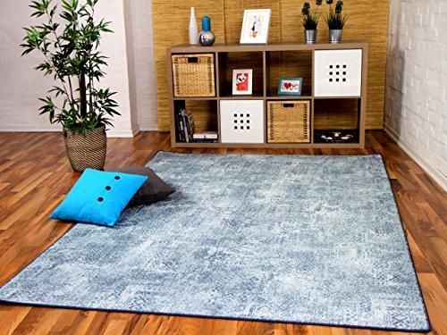 Mystic Designer Soft-Velours Teppich Vintage Eisblau in 24 Größen