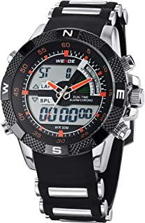 Lixada WEIDE WH1104 Dual Display Two Movement Quartz Digital Men Watch 3ATM Waterproof LCD Backlight Date Week Month Alarm SPL Split Time Stopwatch Wristwatch with Silicone Strap Band
