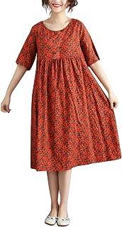 女性のヴィンテージフローラルプリントルーズOネック半袖コットンマキシドレスろんぐ ぬりえ もこもこ ドレス やすい おおきいサイズ ドレス かみかざり