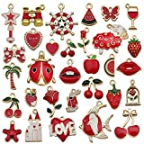 LEBERY Enamel Charms, 30Pcs Mixed Red Theme Charms Pendants for Jewelry Making Bangle Necklace Earrings Bracelet Keychain Designer Charms Bulk Lots Craft Findings