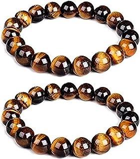 The Bling Stores Natural Tiger Eye Bracelet Combo for Men and Women 8mm Beads Size Tiger Eye Bracelet Combo