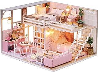 CUTEBEE Miniatura de la casa de muñecas con Muebles, Equipo de casa de muñecas de Madera DIY, más Resistente al Polvo y el Movimiento de música