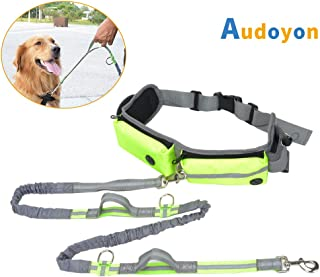 Audoyon Hands Free Leash, Shock Absorbing Bungee Dog Waist Leash with Reflective Strips, Pocket and Bottle Holder for Running, Walking, Training and Hiking, Adjustable Waist Belt from 28