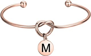 FEELMEM Initial Bracelet Letter Bracelet-Simple Love Knot with Initial Charm Bangle Bracelet-Bridesmaid Gift-Love Knot Bangle Stretch Bracelet Gift for Women-Bridesmaid Jewelry