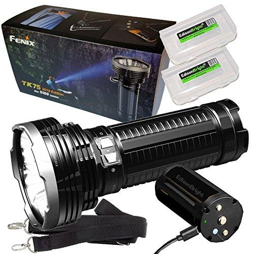 FENIX TK75 5100 Lumen 2018 Edition 4 CREE LED Flashlight/Searchlight with 2 X EdisonBright BBX3 battery carry cases bundle