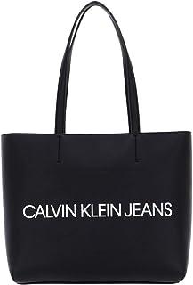 CALVIN KLEIN JEANS Womens Logo Shopper Tote Bag Handbag Black ONE Size