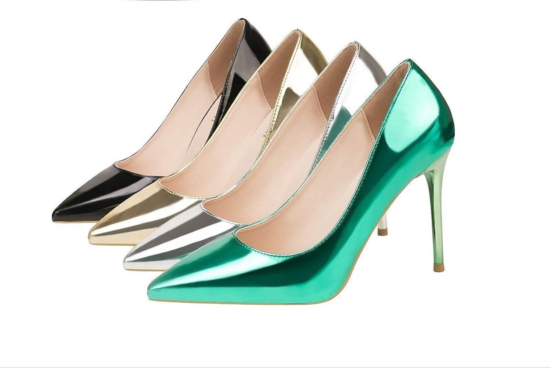 Simple Fashion with a high Heel Metallic flu Pointy Slim Sexy Nightclub shoes