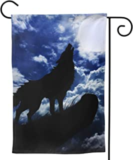 Wolf Garden Flag Moon Cliff House Flag Vertical Double Sided Yard Outdoor Decor Party 12.5 X 18 Inch