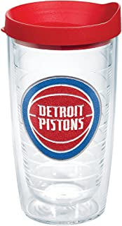 Tervis NBA Detroit Pistons Primary Logo Tumbler with Emblem and Red Lid 16oz, Clear
