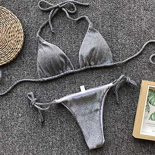 Bikini Damen Bikini Set Bandage Push Up BH V-Ausschnitt Badebekleidung Badeanzug Baden Beachwear Strandkleid Maillot De Bain Femme S Grau