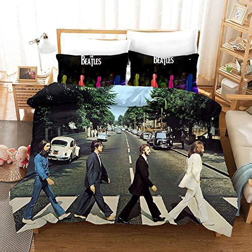 The Beatles Set Copripiumino Matrimoniale 220x240 cm 3 PCS Biancheria da Letto in Microfibra con Chiusura a Cerniera e 2 federe 50x75 cm Morbido e Traspirante