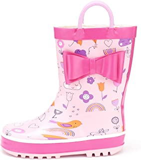 Kids Girl Boy Rain Boots, Waterproof Rubber Printed with Handles
