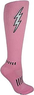 Pink, Black, and White Knee-High Insane Bolt Fitness Unisex Deadlift Socks