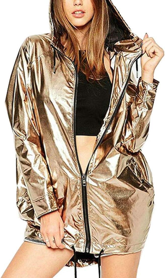 XiaoTianXin-women clothes XTX Womens Baseball Zip-up Metallic Waterproof Hooded Bomber Jackets Coats Gold XL