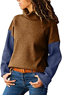COPPEN Women Sweater Turtleneck Matching Long-Sleeved Slim Sweater Pullover