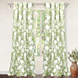 DriftAway Floral Delight Botanic Pattern Room Darkening Thermal Insulated Grommet Unlined Window Curtains Set of 2 Panels Each 52 Inch by 84 Inch Olive Green