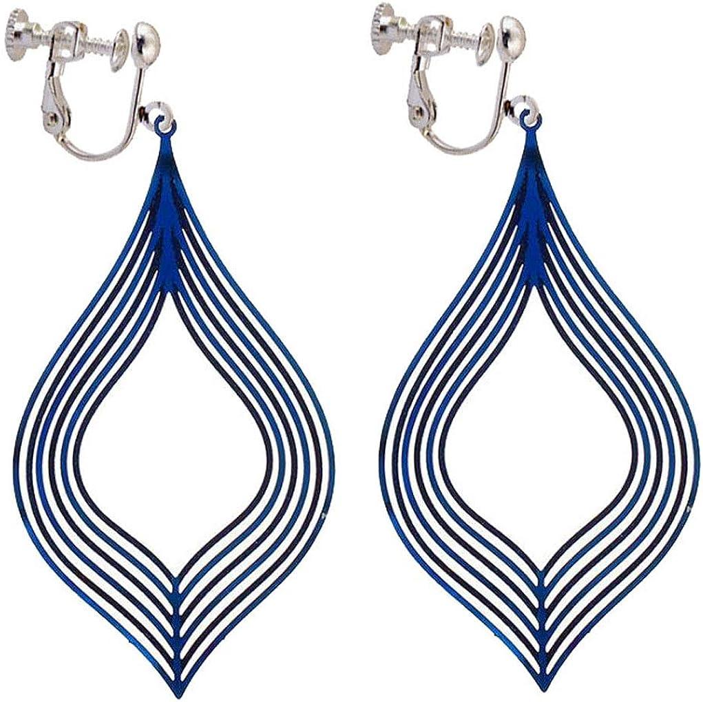 Filigree Thread Teardrop Dangle Clip On Earrings for Grils Women Back Screw Jewelry Gift