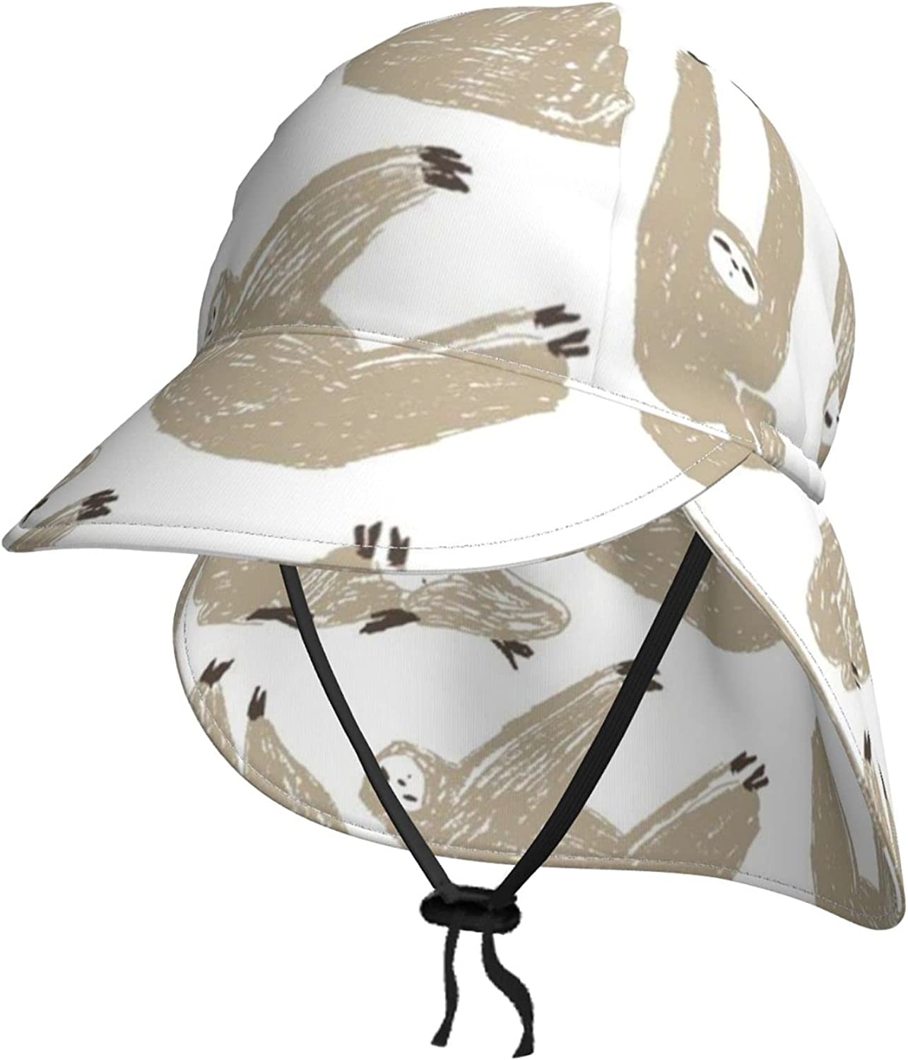 Hand-Draw Rare Sloth Kids Sun Hat Breat Flap Limited time trial price Summer Neck with