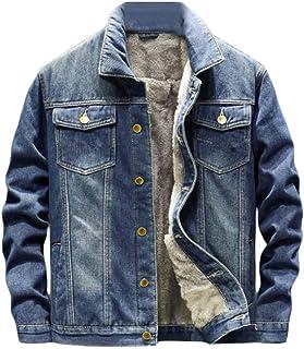 FSSE Mens Quilted Jacket Button Down Jean Faux Fur Lined Winter Denim Trucker Jacket Coat
