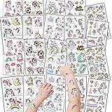 20 hojas de tatuajes para niños, pegatinas de tatuaje de unicornio, tatuajes temporales amigables con la piel para niñas/niños, juego de animales, fiesta de unicornio, regalo de cumpleaños