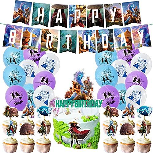 Decoración de cumpleaños con Globos LLMZ Banderín Feliz Cumpleaños Party Decoration Dragon Cake Toppers para Fiestas Fiesta Temática