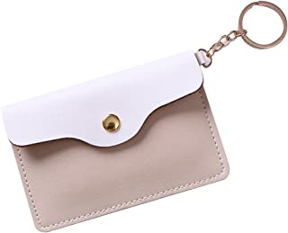 Women's Faux Leather Coin Purse Mini Pouch Change Wallet with Key Ring