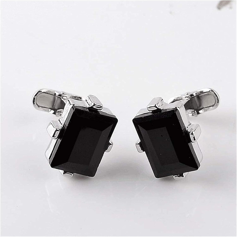 ZHANGQQ Men's Classic Cufflinks,Men's Cufflink Set Modern Design Big Black Crystal Cufflinks Curve Men's Wedding Shirt Cuff Link