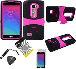 For 2015 LG Tribute2 LS665 / LG Leon LTE C40 /H320 /LG Power L22C /LG Destiny L21G /LG Sunset L33L / ITUFFY(TM) 4items Combo: LCD Screen Protector Film + Stylus Pen + Case Opener + 2 tone Dual Layer KickStand Tuff Impact Armor Hybrid Soft Silicone Cover Hard Snap On Plastic Case (Black - Hot Pink)