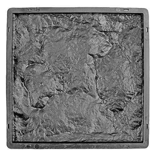 @tec Schalungsform für Klinkersteine | Gießform Plastikformen für Beton, Pflastersteine, Terrassenplatten, Trittplatten, Bodenplatten und Gehwegplatten für Garten in Basaltoptik, 26.6 x 26.6 x 2.5 cm