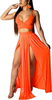 Mintsnow Sexy Dresses for Women 2 Piece Outfits Chiffon Strap Deep V Neck Bra Crop Top High Split Maxi Dress Skirt Set Bea...