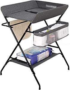 AFDK Changing Table Foldable  Diaper Storage Station Dresser for  Cross Leg Style  Gray
