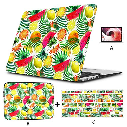 MacBook Air Covers Tropical Watercolor Fruits Seamless Tropic Mac Air Cover Hard Shell Mac Air 11'/13' Pro 13'/15'/16' with Notebook Sleeve Bag for MacBook 2008-2020 Version