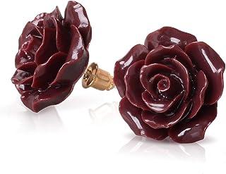 925 Sterling Silver Earrings Rose Flower, Pretty Blooming Carved Red Rose Dangle Earrings Tiny Resin Rose for Women for Te...