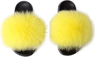 AONEGOLD Pantoufles Femmes Chausson Peluche Slippers Sandales Fausse Fourrure Bout Ouvert Accueil Chaussures