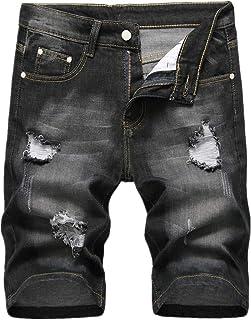7cc471ba689cf DEELIN Homme Mode Rétro Denim Pantalon Court Jeans Déchiquetés Pantalon  Droit Détresse Jean Délavé Shorts Plus
