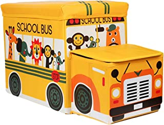 (Sppessn)収納スツール おもちゃ箱 収納ボックス オットマン 子供 折りたたみ 大容量 フタ付き 列車(イエロー)