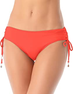 Anne Cole Women's Ruched-Side Tie Bikini Swim Bottom in Coral