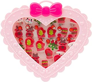 SOTOGO 24 Pieces Little Girl Christmas Shiny Clip-on Earrings Adjustable Jewelry Rings Set,Children Kids Girl Pretend Play Earrings and Dress up Rings, All Packed in Heart Box