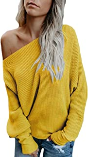Womens Off Shoulder Sweater Knit Jumper Long Sleeve Pullover Baggy Solid Sweaters