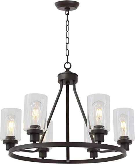 Amazon Com Melucee 6 Light Glass Chandelier Farmhouse Lighting Kitchen Island Lighting Dining Room Light Fixtures Hanging Glass Pendant Light Oil Rubbed Bronze Finished Ul Listed Home Improvement
