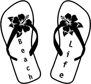 Beach Life Flip Flops Hibiscus NOK Decal Vinyl Sticker |Cars Trucks Vans Walls Laptop|Black|5.5 x 5.0 in|NOK714