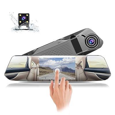 Backup Camera, CAIDROX 5 inch Mirror Dash Cam w...