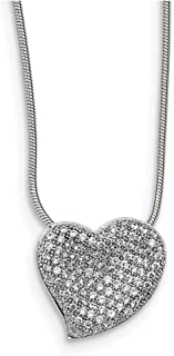 """Lex & Lu Sterling Silver & CZ Brilliant Embers Heart Necklace 18"""" LAL114030"""