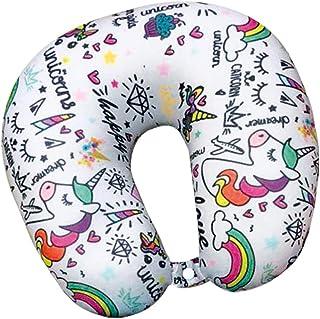XL1308 Almohada de Viaje Cuello Cervical reposa Cabezas - Regalos para Coche viajeros Unicornio Infantil niños y niñas Funda de cojín para reposacabezas Viaje Neck Travel Pillow Unicornio